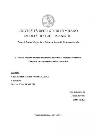 """I """"Sessanta racconti"""" di Dino Buzzati dai periodici al volume Mondadori"""