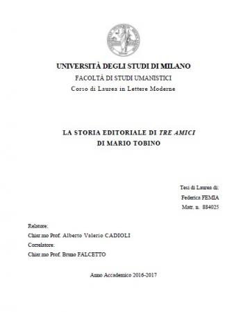 La storia editoriale di Tre amici di Mario Tobino