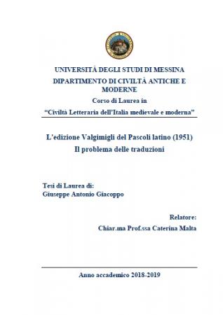 L'edizione Valgimigli del Pascoli latino (1951)