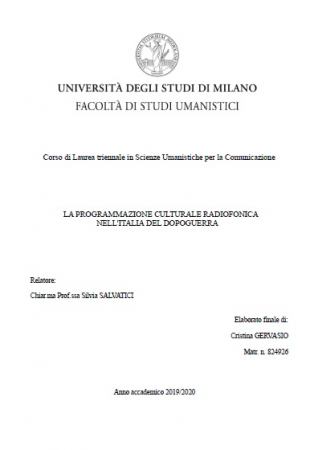 La programmazione culturale radiofonica nell'Italia del dopoguerra