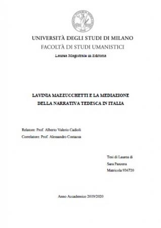 Lavinia Mazzucchetti e la mediazione della narrativa tedesca in Italia