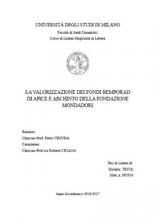 La valorizzazione dei fondi Bemporad di APICE e Archinto della Fondazione Mondadori