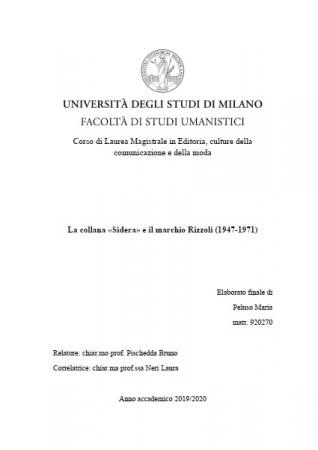 """La collana """"Sidera"""" e il marchio Rizzoli (1947-1971)"""