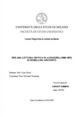"""Per una lettura critica di """"leggere"""" (1988-1997) di Rosellina Archinto"""