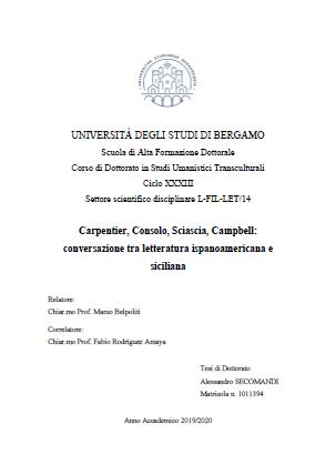 Carpentier, Consolo, Sciascia, Campbell